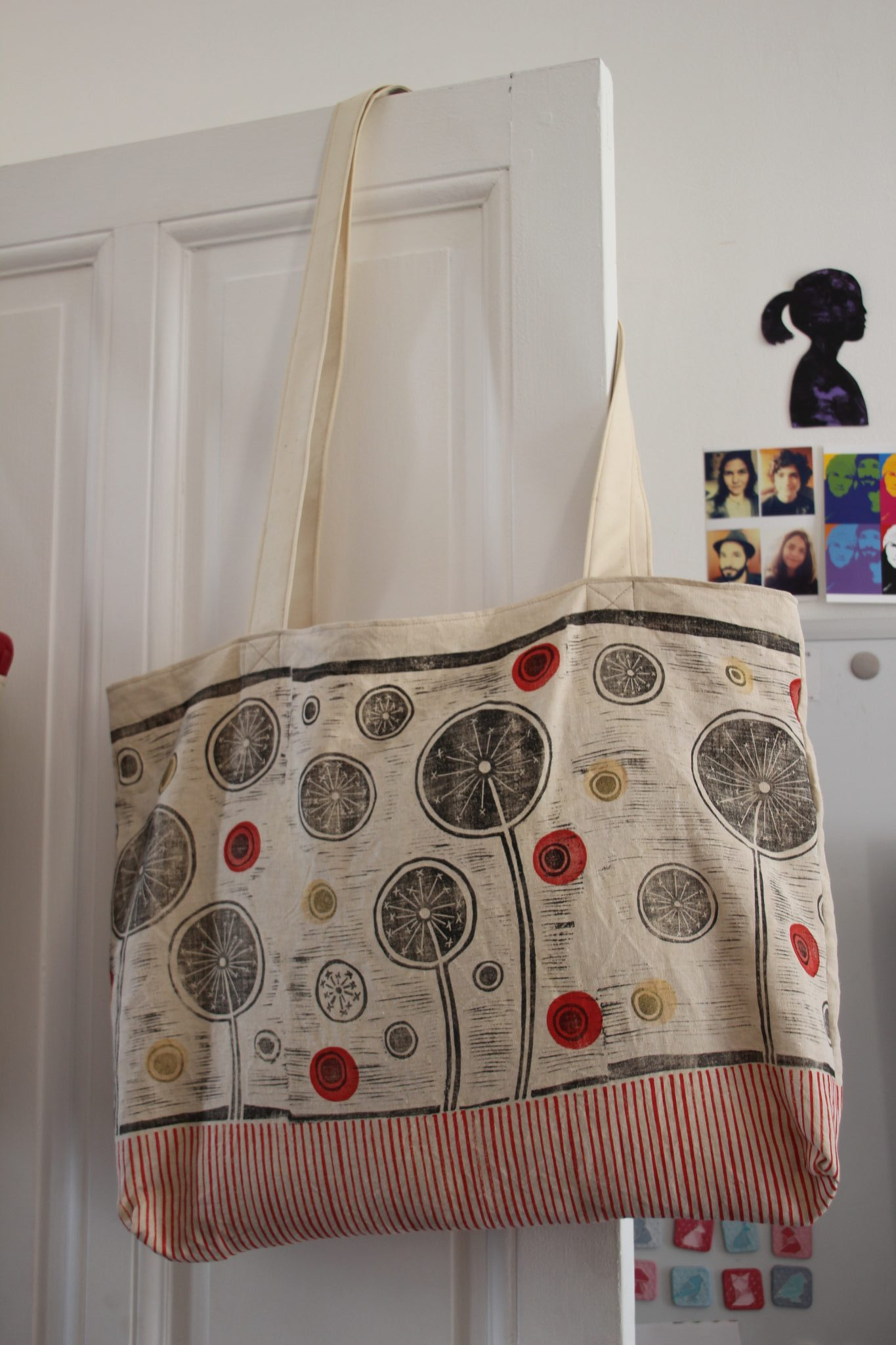 sac fleurs citron | LinoLino | Linogravure | Créations artisanales