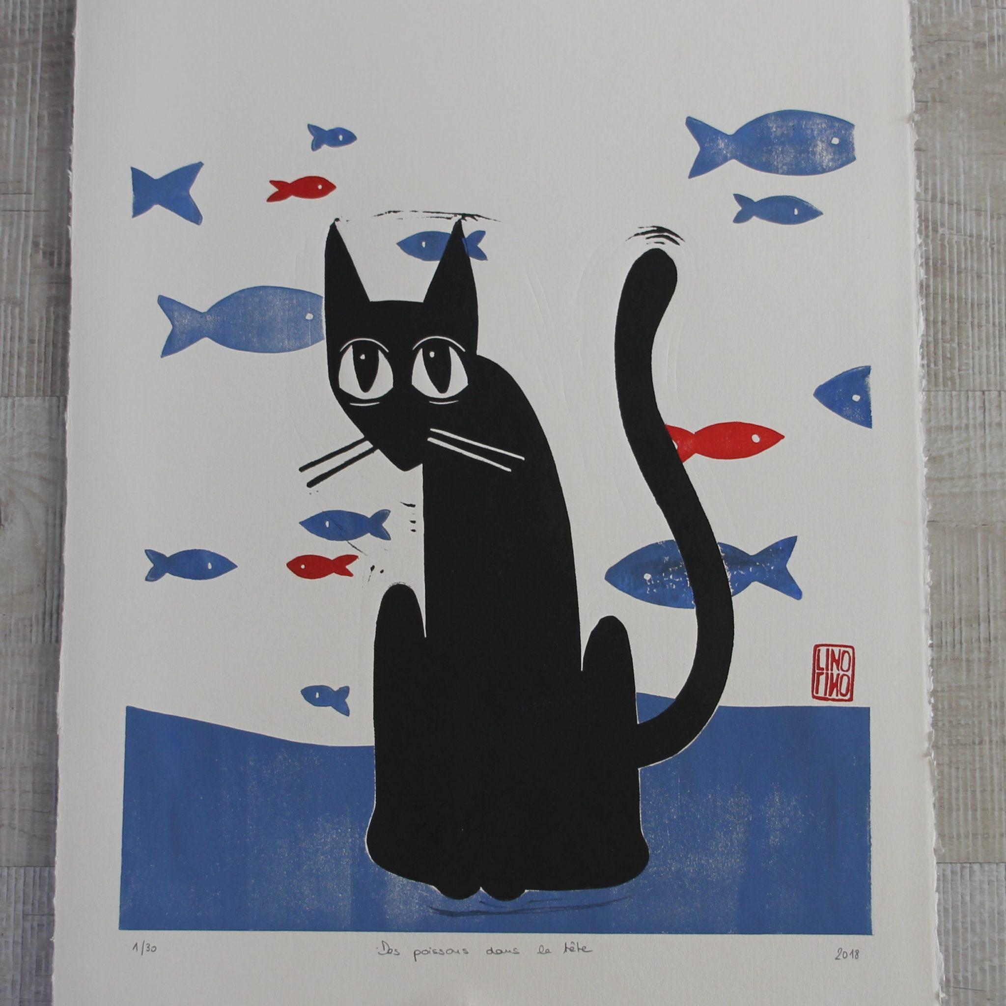 LinoLino | Linogravure et créations à partir d'impressions artisanales | Chambéry, France | Impression originale illustration gravure chat poissons