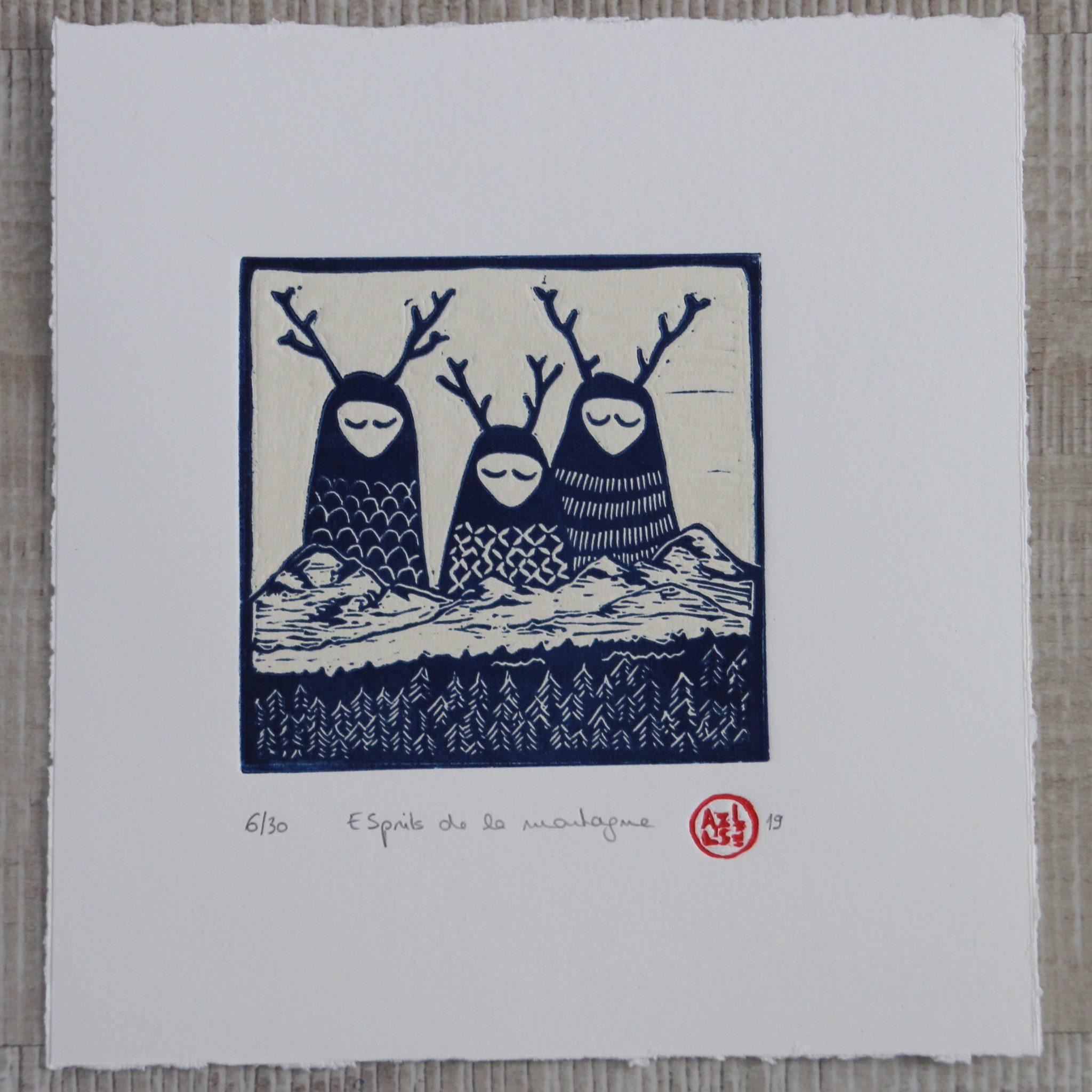 LinoLino | Linogravure et créations à partir d'impressions artisanales | Chambéry, France | Impression originale illustration esprits de la montagne chine collé