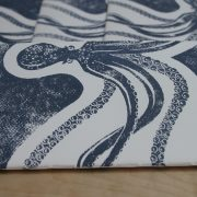 carnet poulpe linogravure (tranche)   LinoLino   Créations artisanales