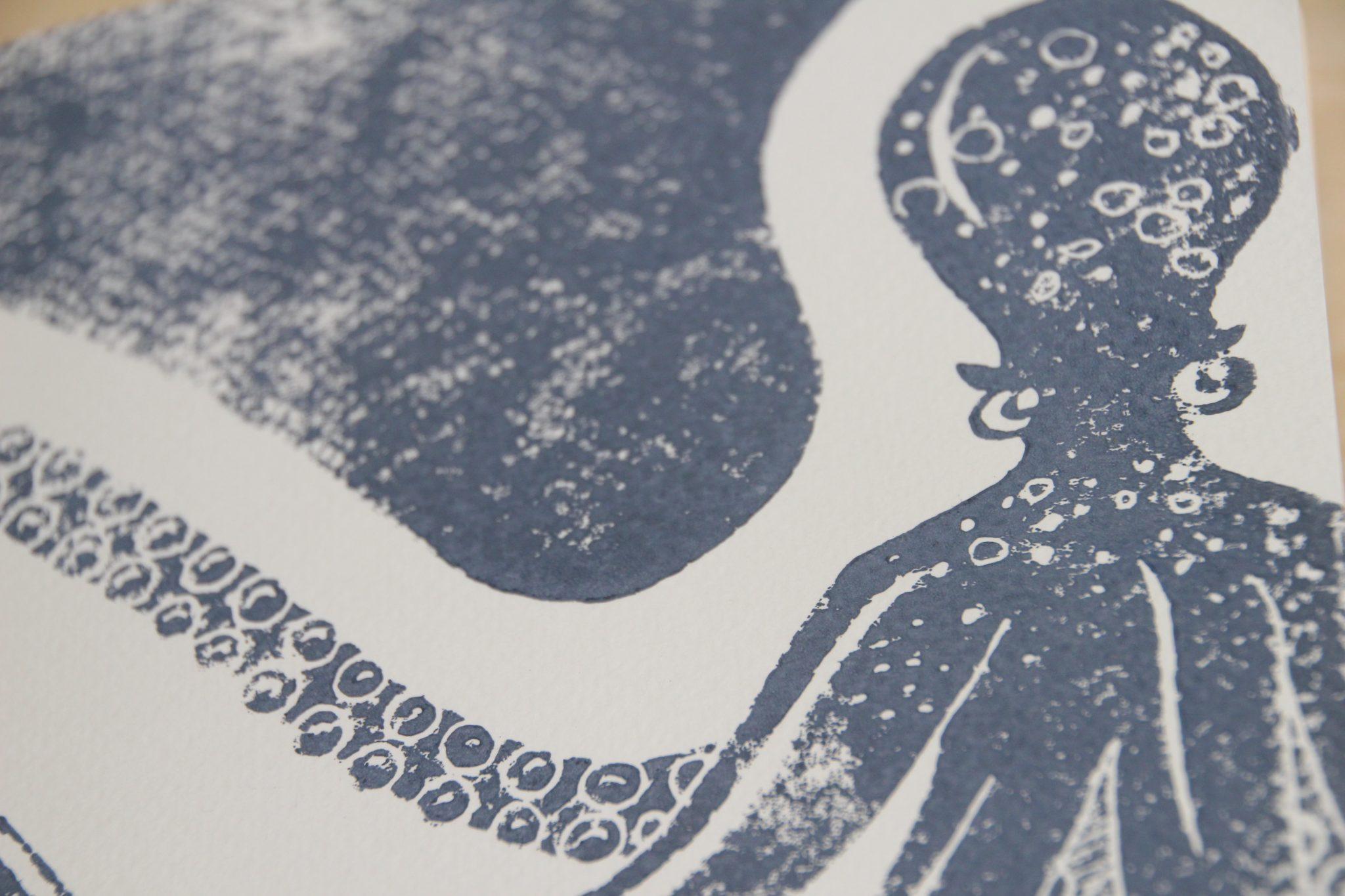 carnet poulpe linogravure | LinoLino | Créations artisanales