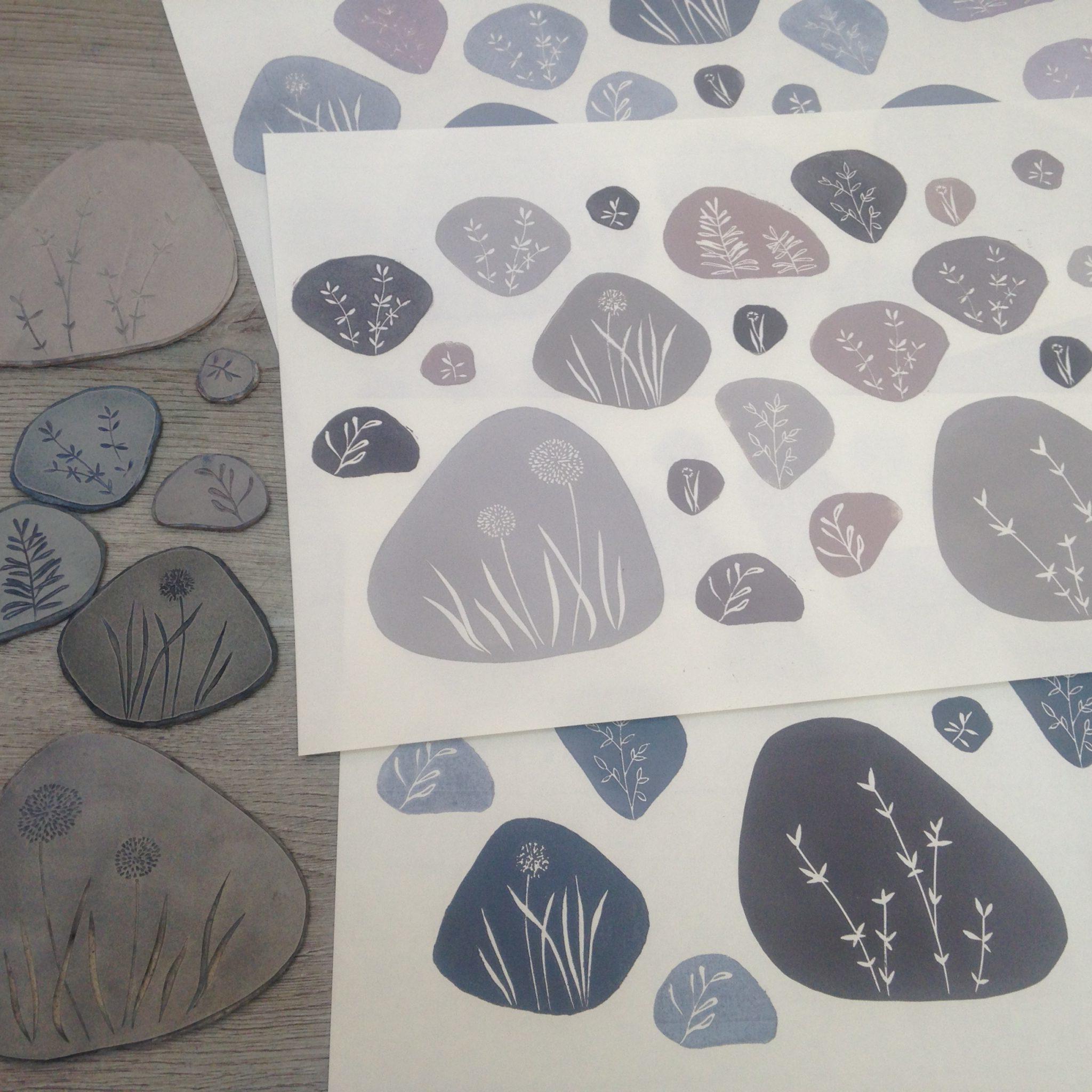 LinoLino | Linogravure et créations à partir d'impressions artisanales | Chambéry, France | Impression originale illustration galets