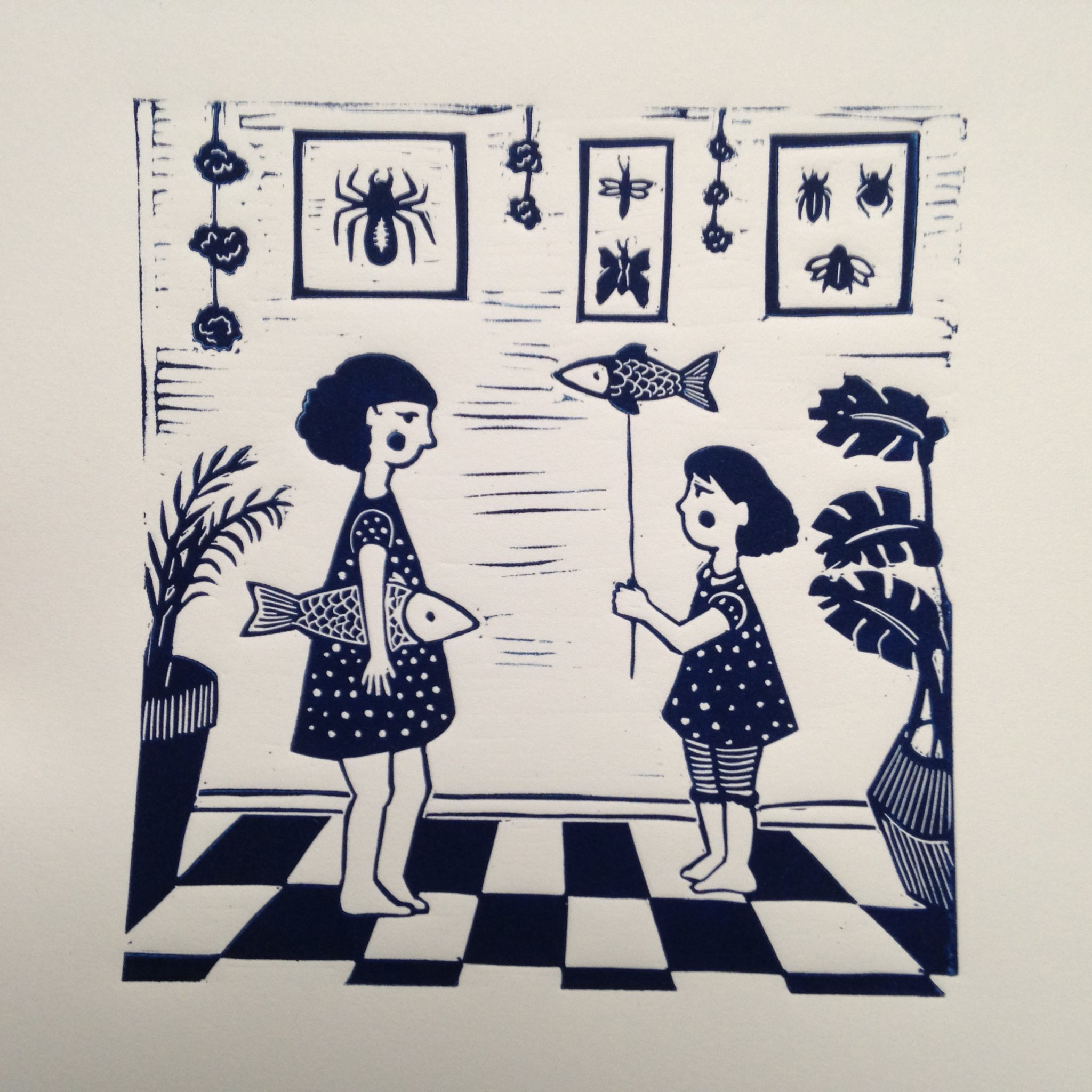 LinoLino | Linogravure et créations à partir d'impressions artisanales | Chambéry, France | Impression originale illustration tableau conversation poissons