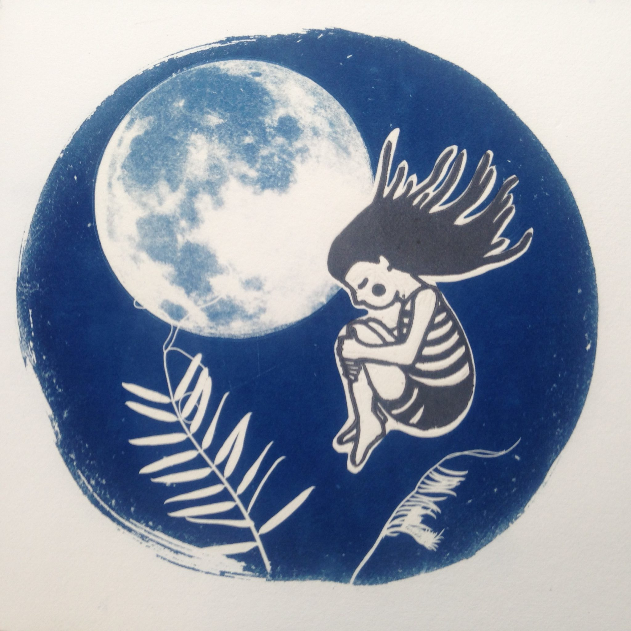 LinoLino | Linogravure et créations à partir d'impressions artisanales | Chambéry, France | Impression originale illustration cyanotype mixedmedia linocut moon