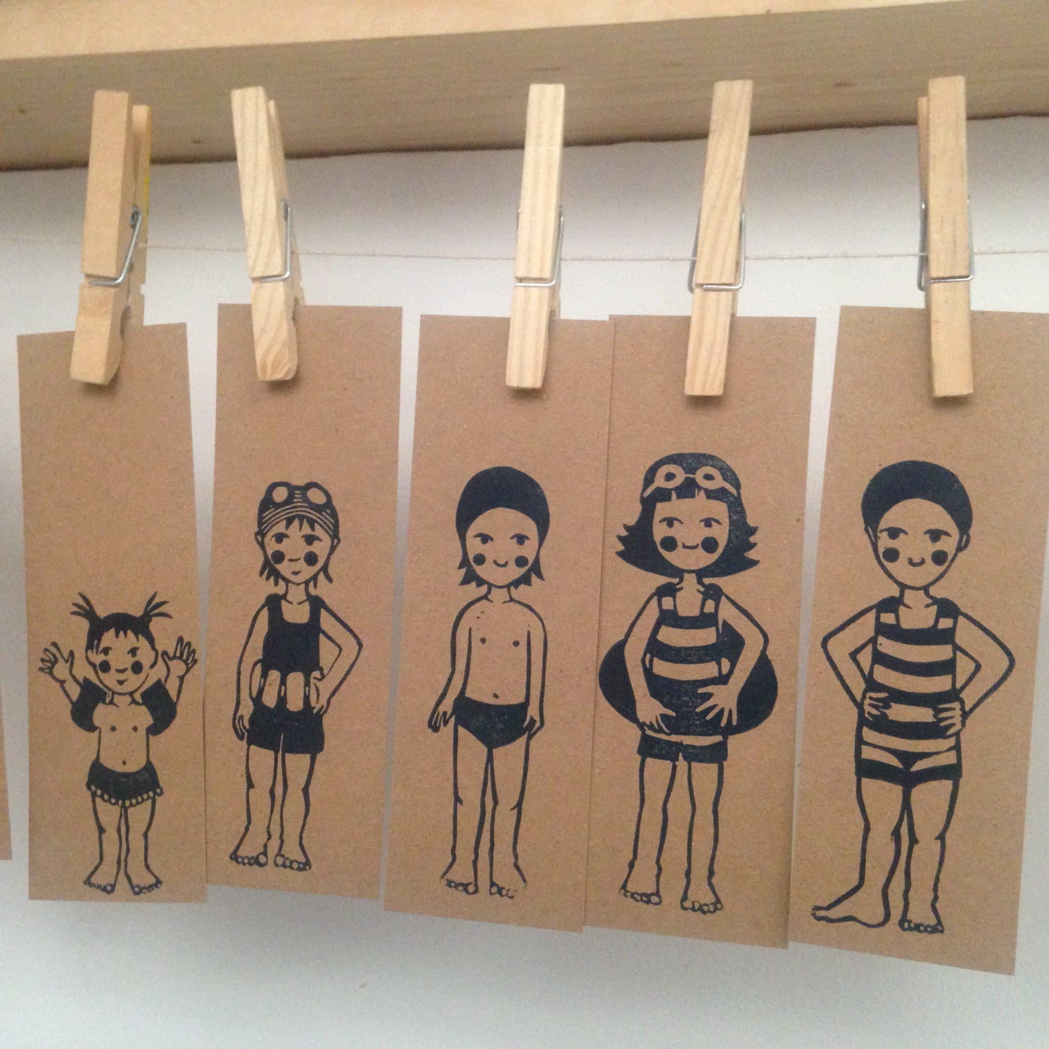 LinoLino | Linogravure et créations à partir d'impressions artisanales | Chambéry, France | Impression originale illustration baigneuses marque page