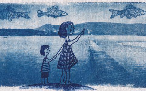 LinoLino | Linogravure et créations à partir d'impressions artisanales | Chambéry, France | Impression originale illustration cyanotype lac aiguebelette chapelle Vaugelas