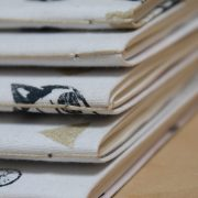 LinoLino - Linogravure et créations   Carnets Recycle, couvertire tissu, impression Marine et Or