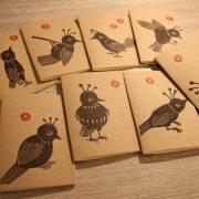 LinoLino - linogravure et créations | Petits carnets kraft Oiseaux