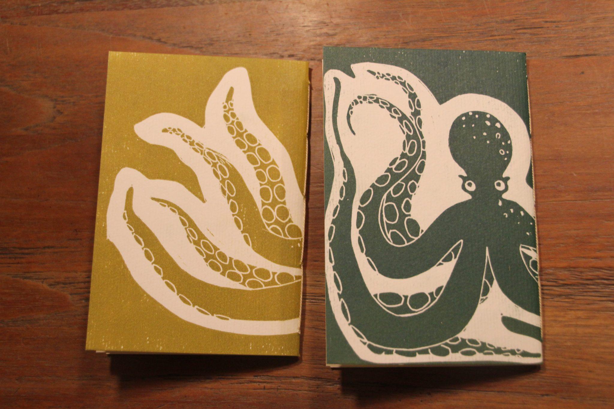 LinoLino - Linogravure et créations | Carnets A6 Poulpe vert et poulpe jaune