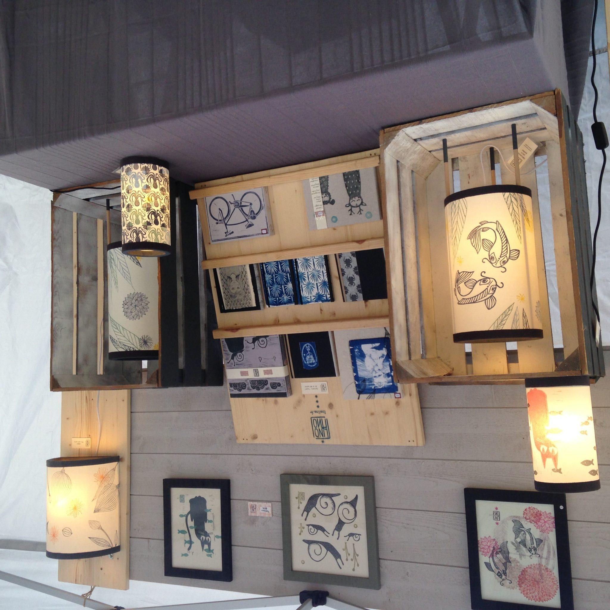 LinoLino | Linogravure et créations à partir d'impressions artisanales | Chambéry, France | Stand LinoLino Méridienne des Artistes, Montmélian