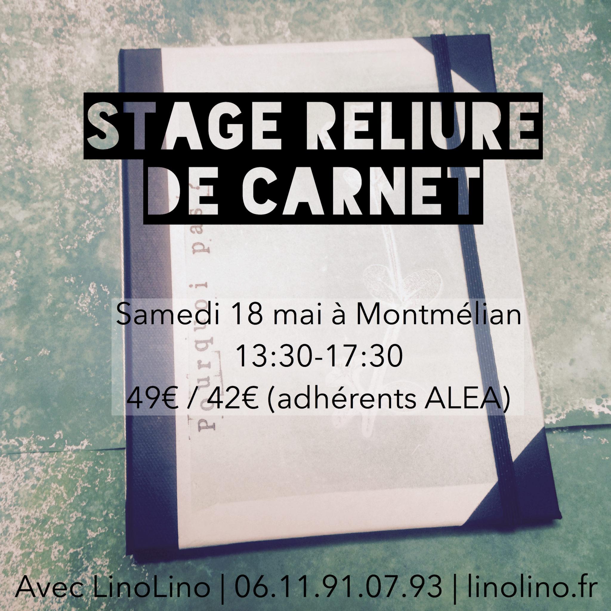 LinoLino | Linogravure et créations à partir d'impressions artisanales | Chambéry, France | Stage reliure carnets Montmélian 18 mai 2018
