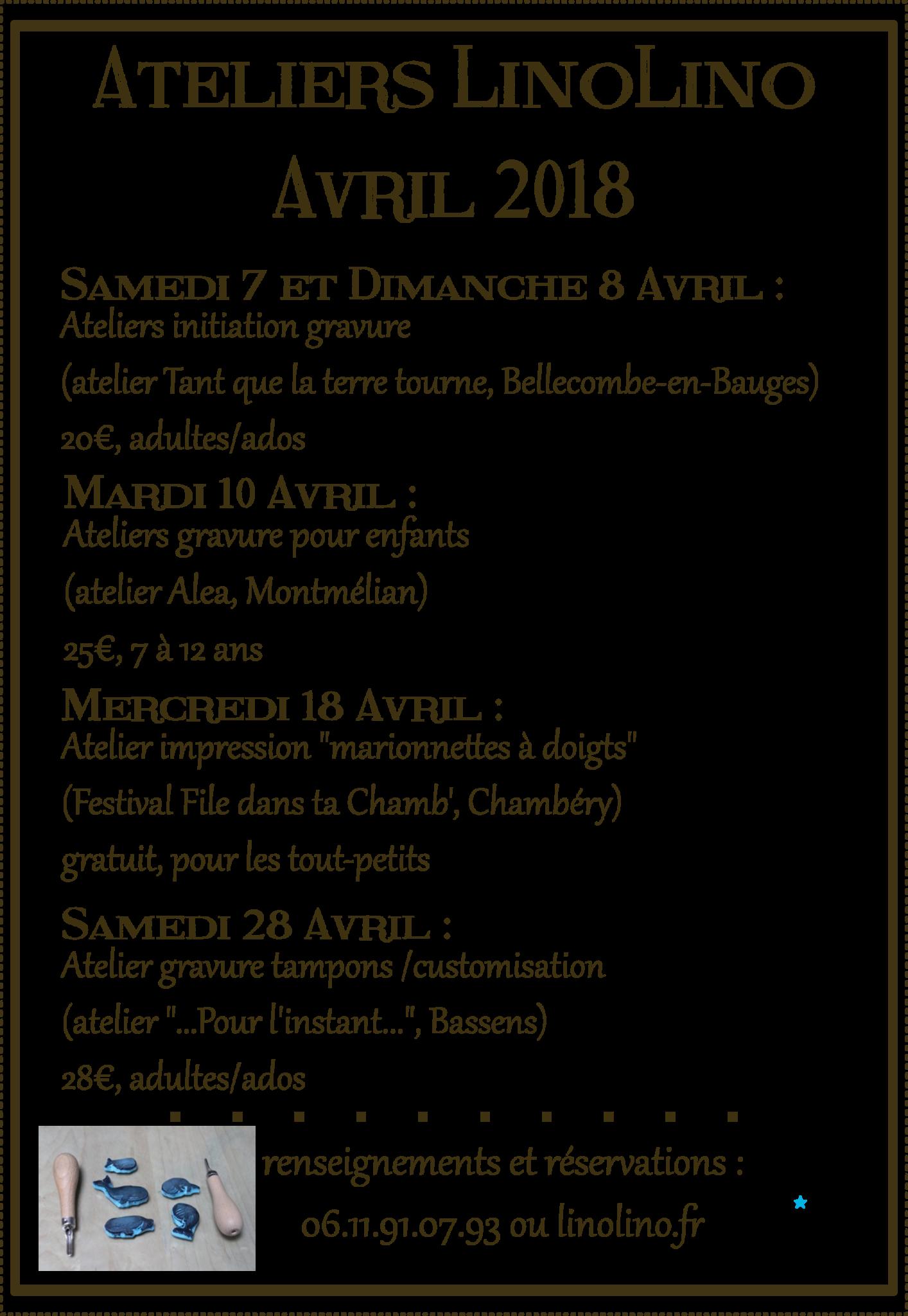 LinoLino | Linogravure et créations à partir d'impressions artisanales | Chambéry, France | Ateliers gravure en avril
