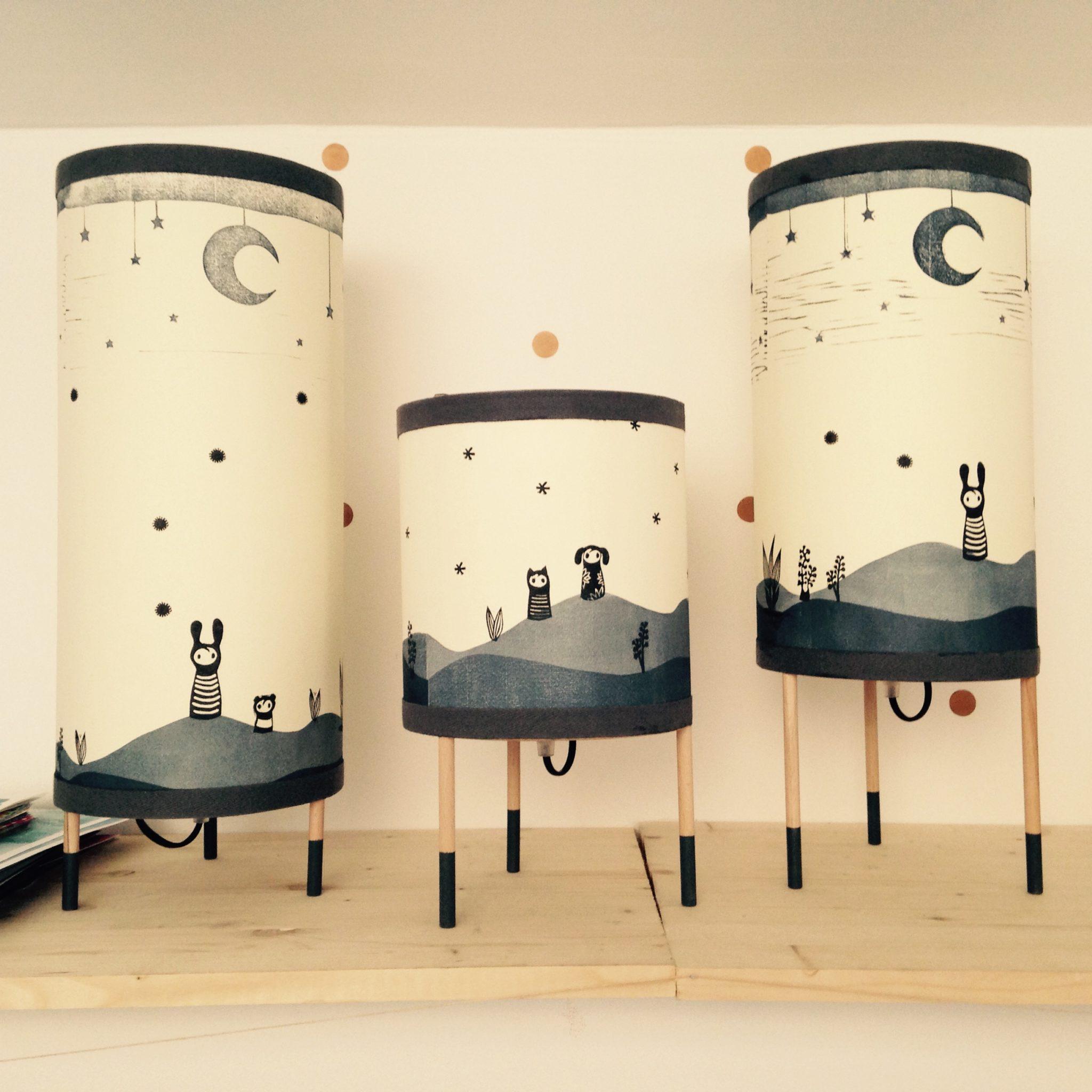 LinoLino | Linogravure et créations à partir d'impressions artisanales | Chambéry, France | Lampes | Lampes à poser doudous, grand et moyen modèles