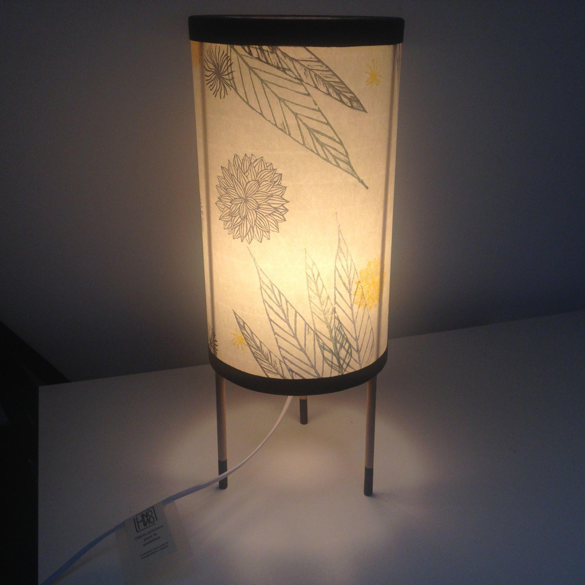 LinoLino | Linogravure et créations à partir d'impressions artisanales | Chambéry, France | Lampes | Lampe à poser Jardin, grand modèle