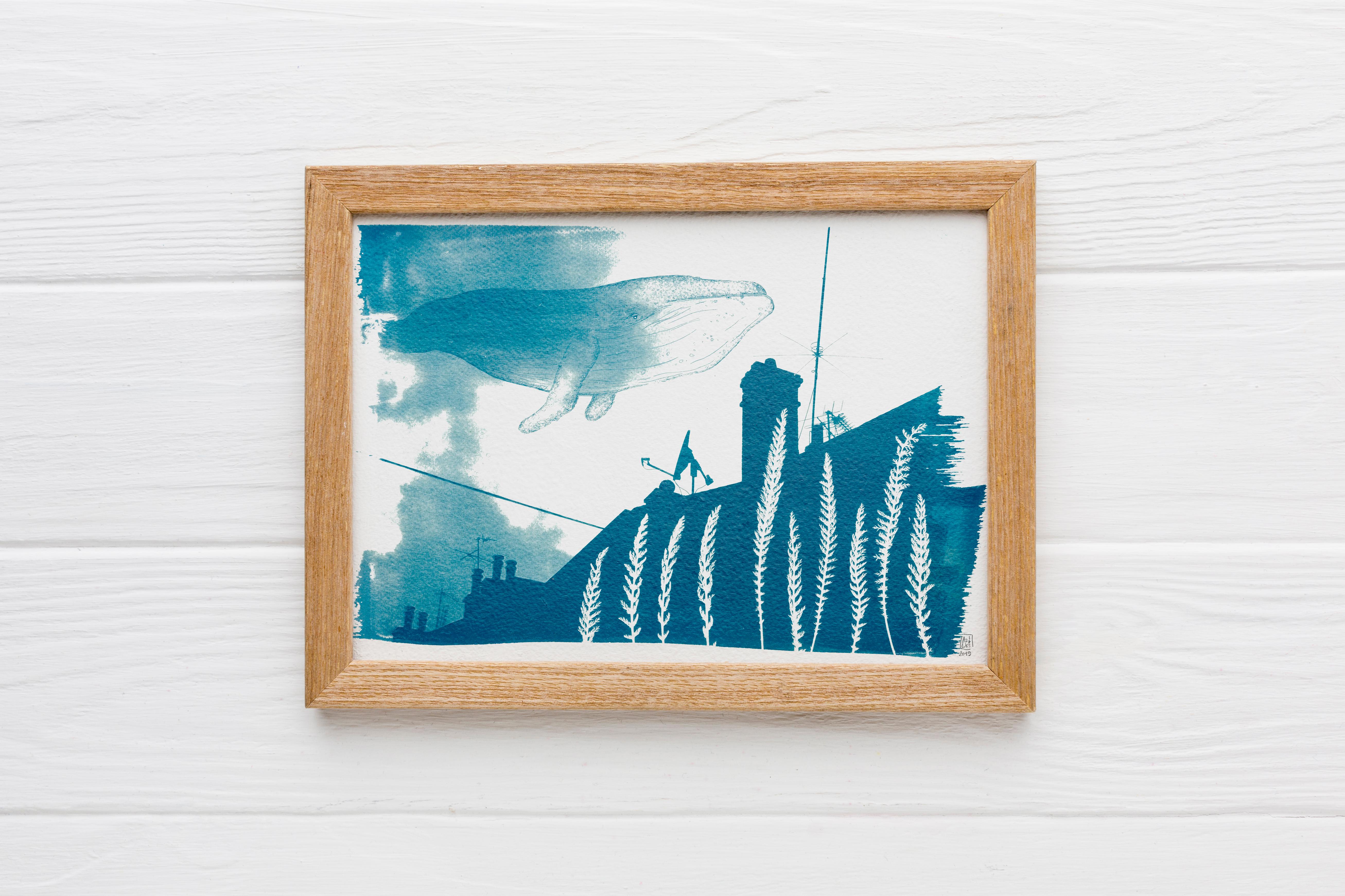 LinoLino | Linogravure et créations à partir d'impressions artisanales | Chambéry, France | Mockup Baleine volante cyanotype
