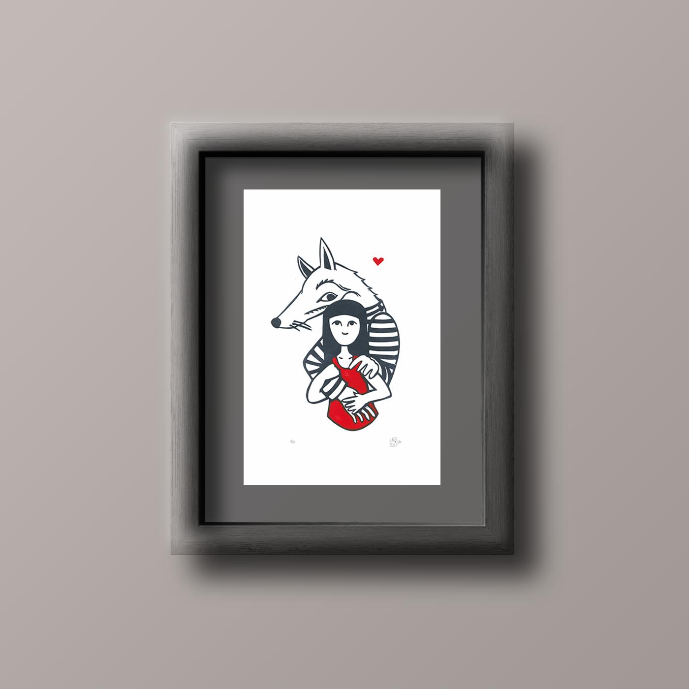 LinoLino | Linogravure et créations à partir d'impressions artisanales | Chambéry, France | Linogravure loup amoureux Mockup