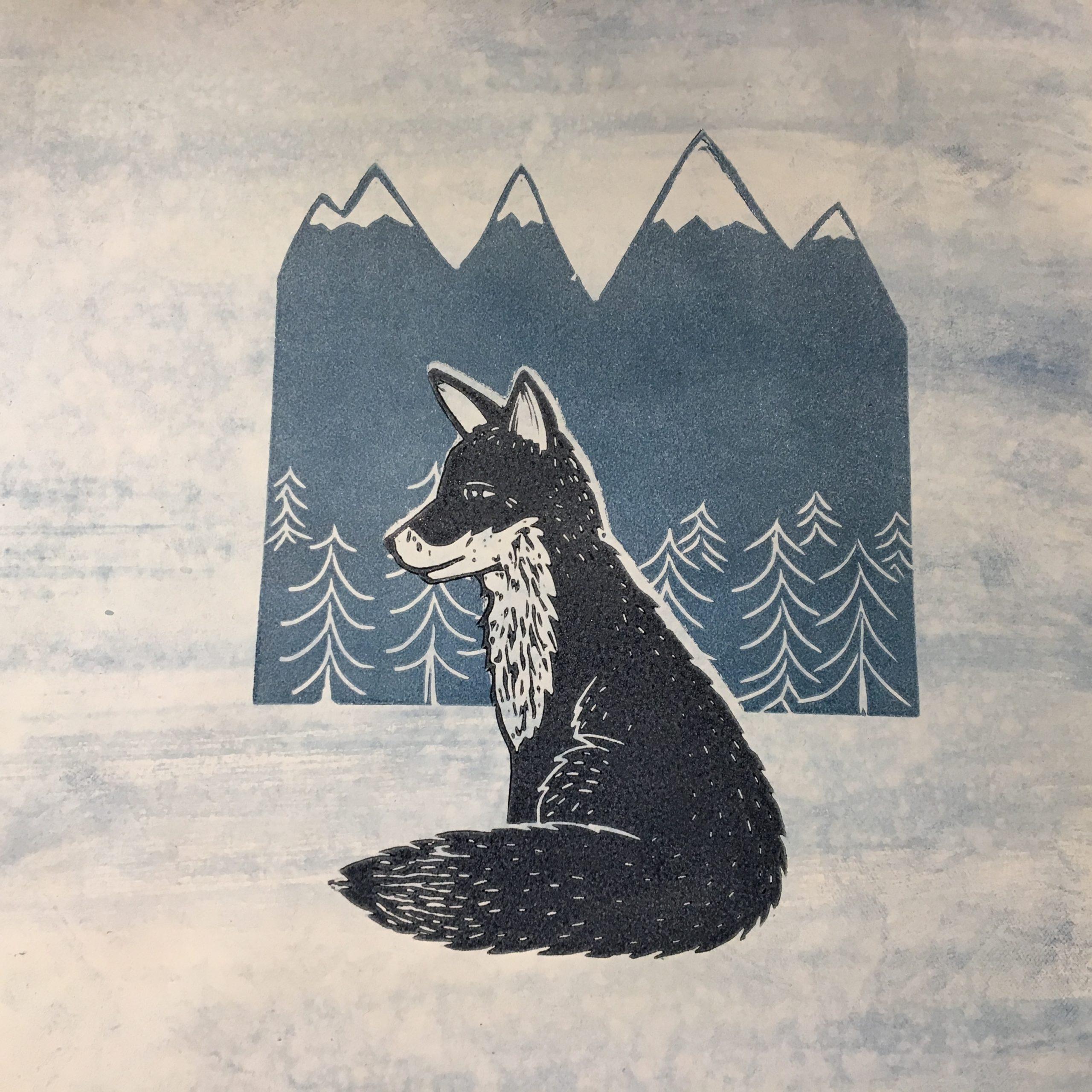 LinoLino | Linogravure et créations à partir d'impressions artisanales | Chambéry, France | Linogravure renard montagne