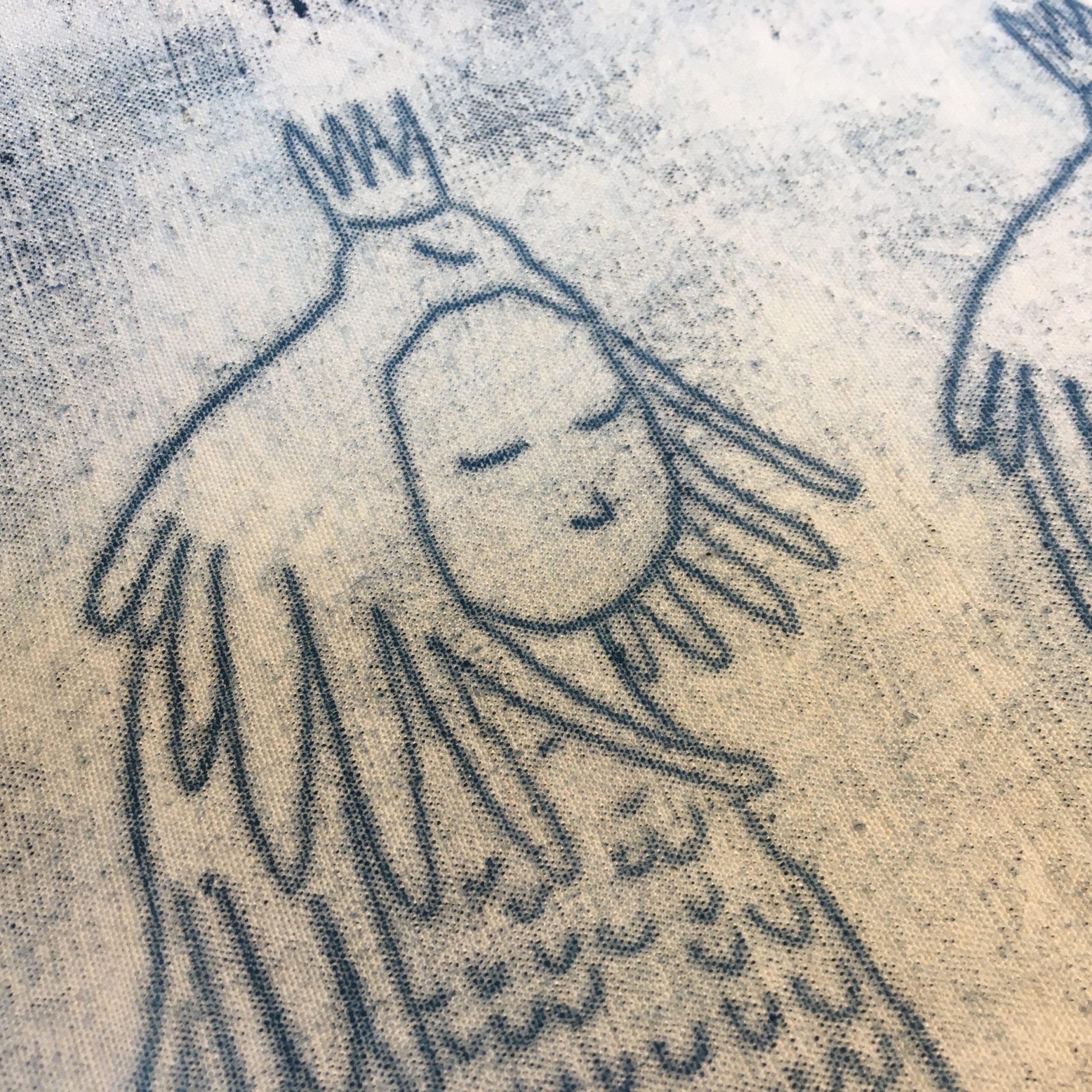 LinoLino | Linogravure et créations à partir d'impressions artisanales | Chambéry, France | Monotype sur tissu Oiseau sur la tête Prévert