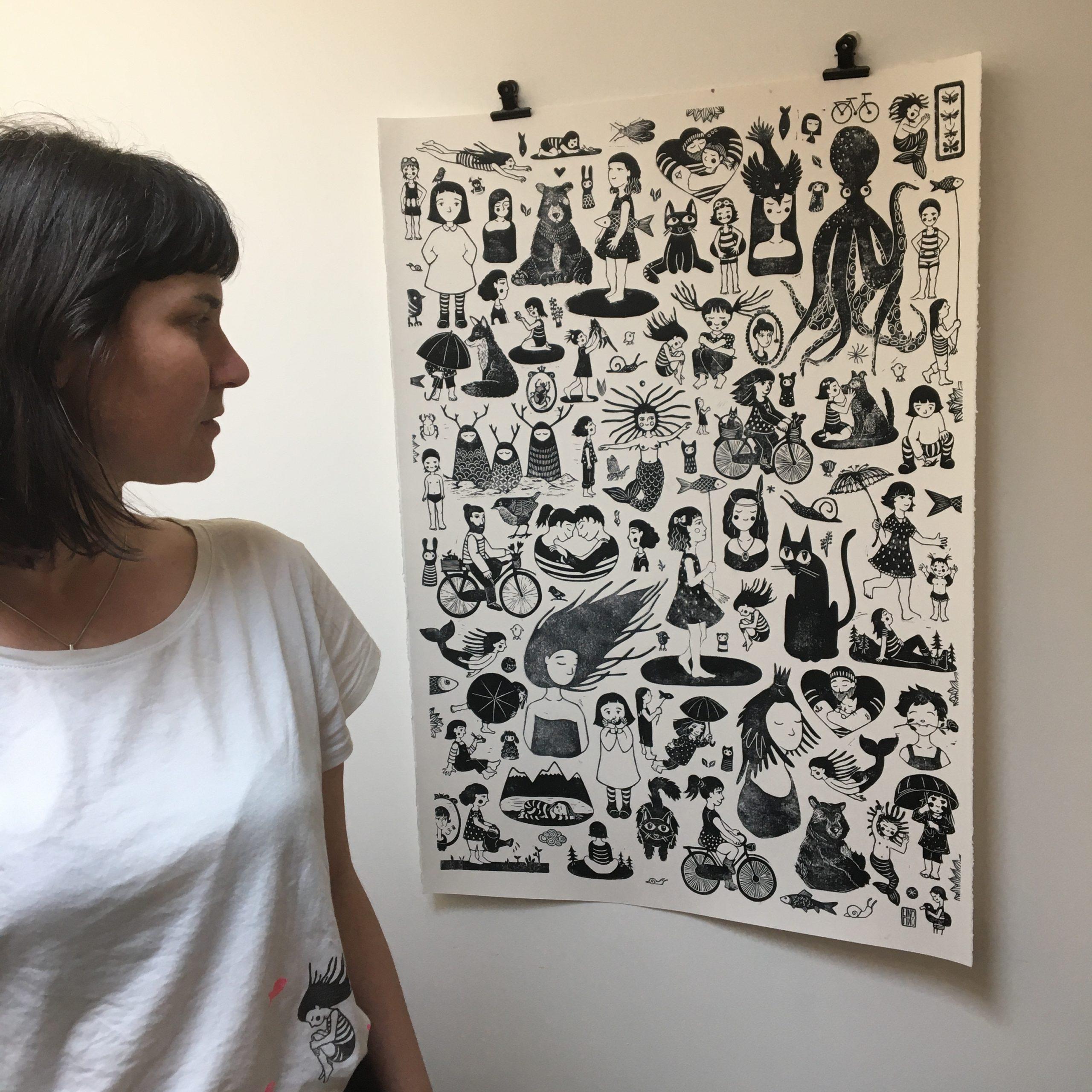 LinoLino | Linogravure et créations à partir d'impressions artisanales | Chambéry, France | Linogravure Grande affiche du confinement