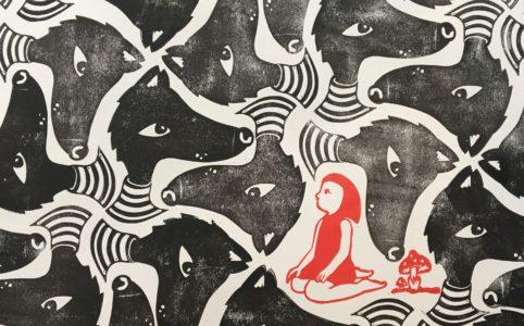 LinoLino | Linogravure et créations à partir d'impressions artisanales | Chambéry, France | Pavage Petit chaperon rouge et loups